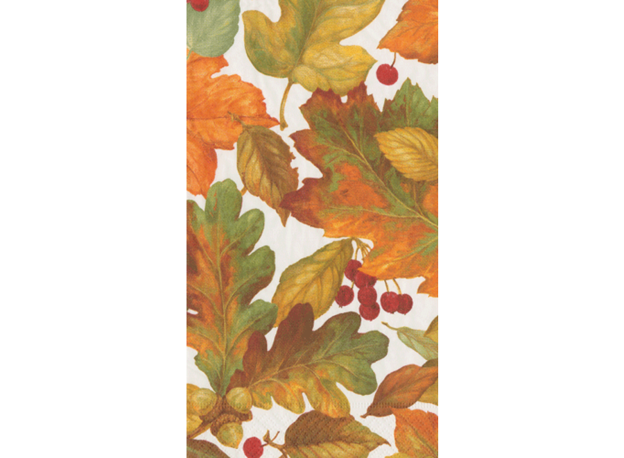 Autumn Leaves 2 Paper Guest Towel Napkins in Green - 15 Per Package