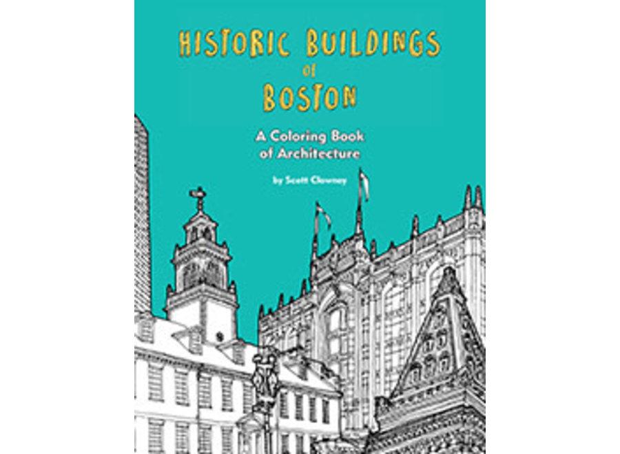 Coloring Book Historic Buildings of Boston