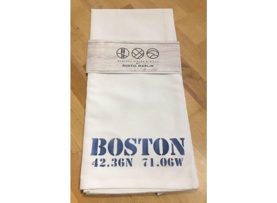 Tea Towel Boston Longitude & Latitude in Nautical Blue