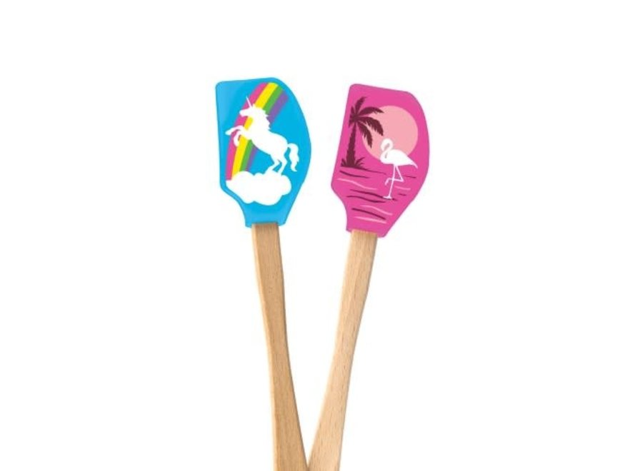 Wood Handled Mini Unicorn & Flamingo Spatulas – Set of 2