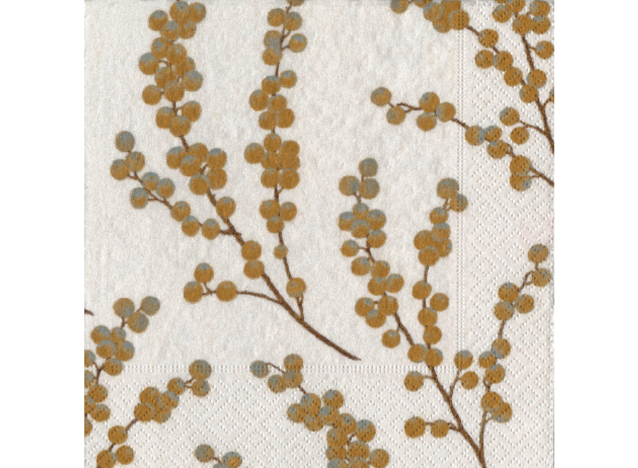 Berry Branches Paper Cocktail Napkins in White & Gold - 20 Per Package