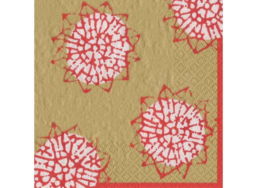 Block Print Stars Paper Cocktail Napkins in Red - 20 Per Package