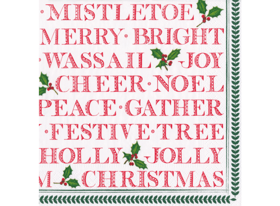Yuletide Cheer Paper Cocktail Napkins - 20 Per Package