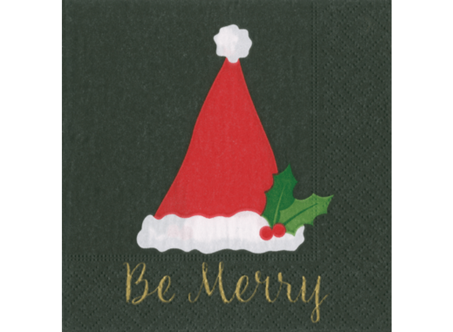 Be Merry Paper Cocktail Napkins in Black - 20 Per Package