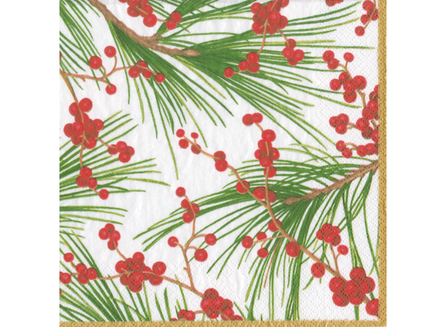 Berries and Pine Paper Cocktail Napkins - 20 Per Package