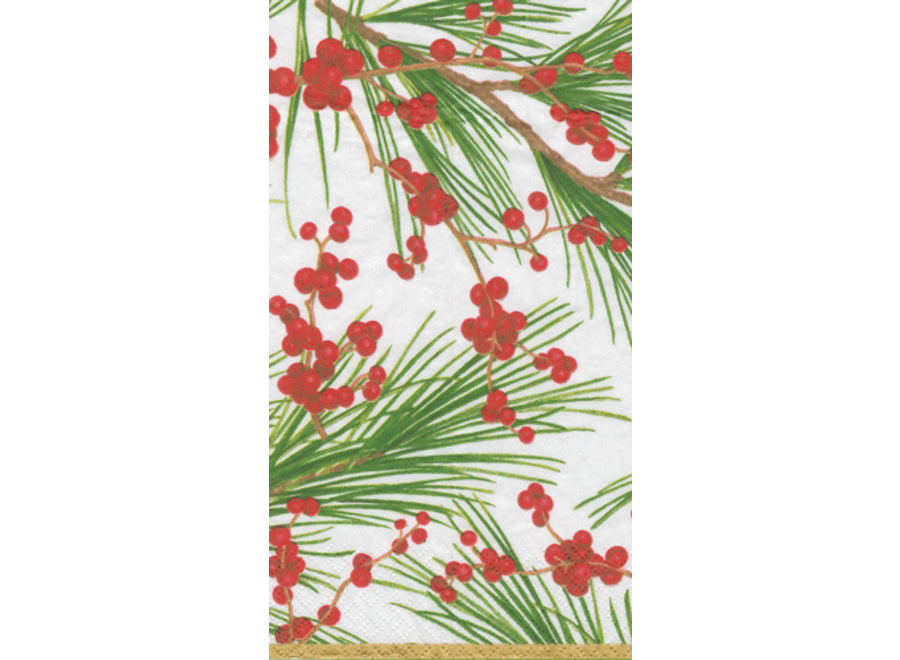 Berries and Pine Paper Guest Towel Napkins in Ivory - 15 Per Package