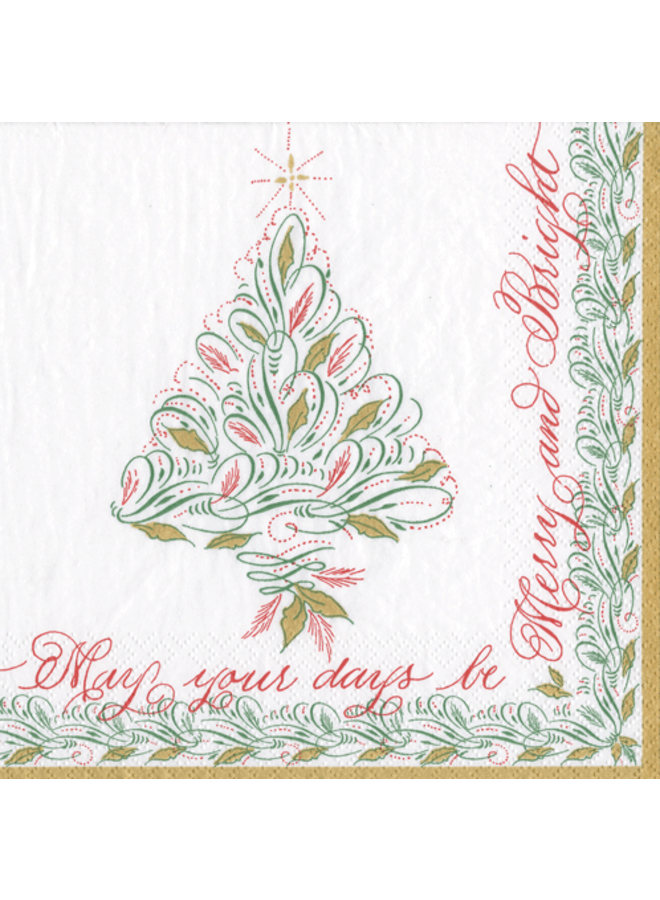 Christmas Calligraphy Paper Cocktail Napkins - 20 Per Package