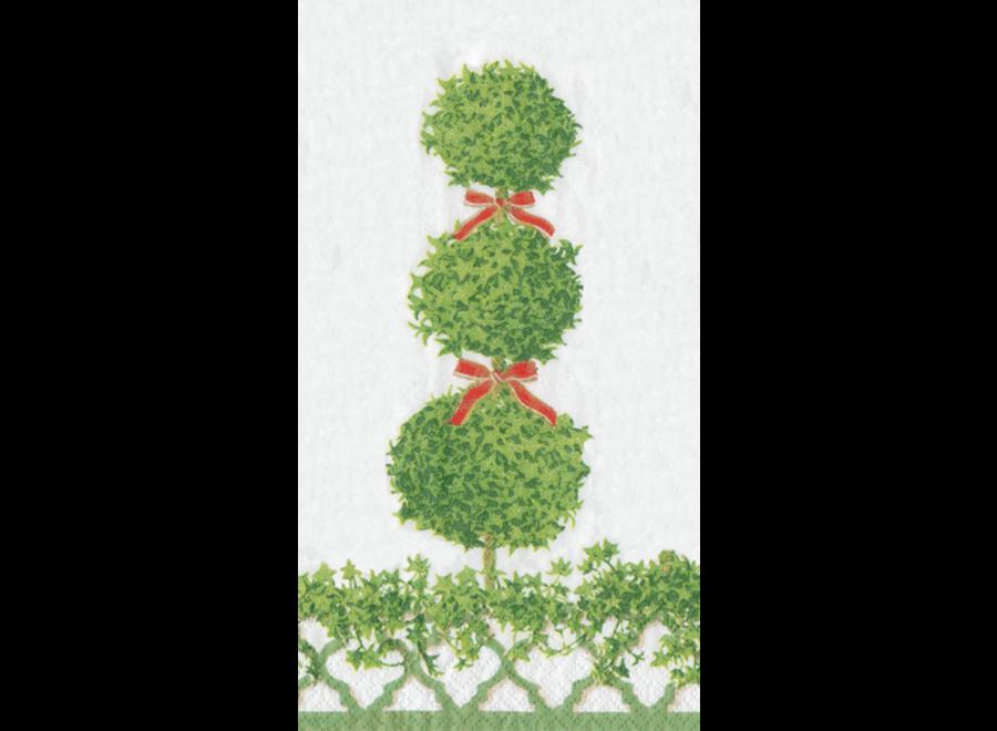 Topiaries Green Border Paper Guest Towel Napkins - 15 Per Package