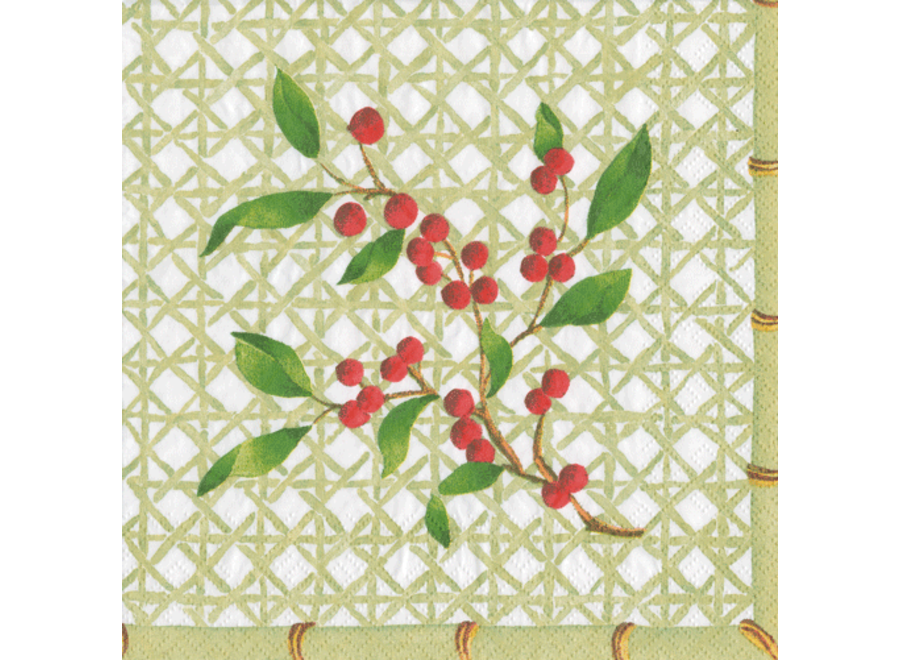 Holly on Trellis Paper Cocktail Napkins - 20 Per Package