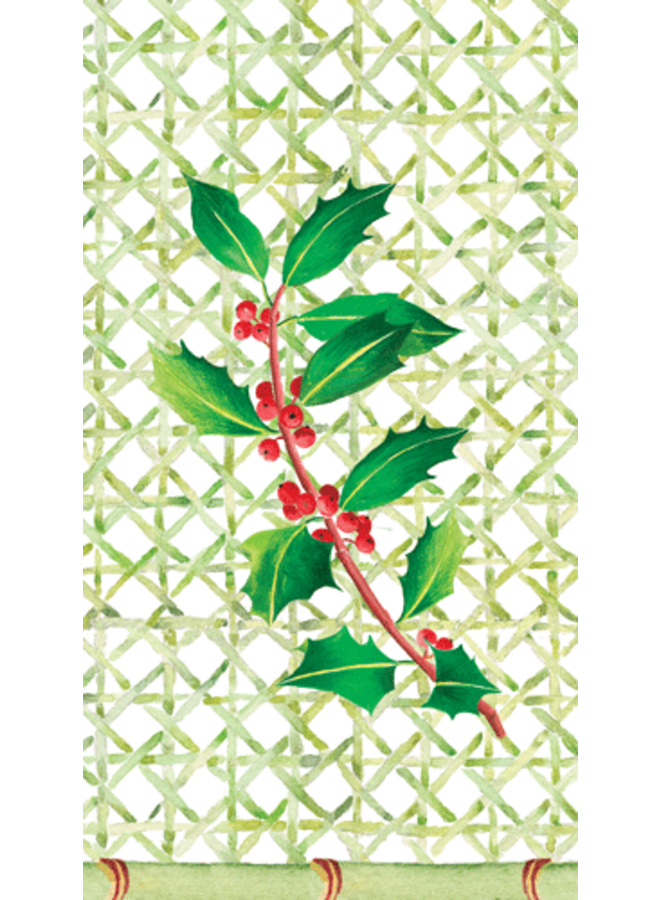 Holly on Trellis Paper Guest Towel Napkins - 15 Per Package