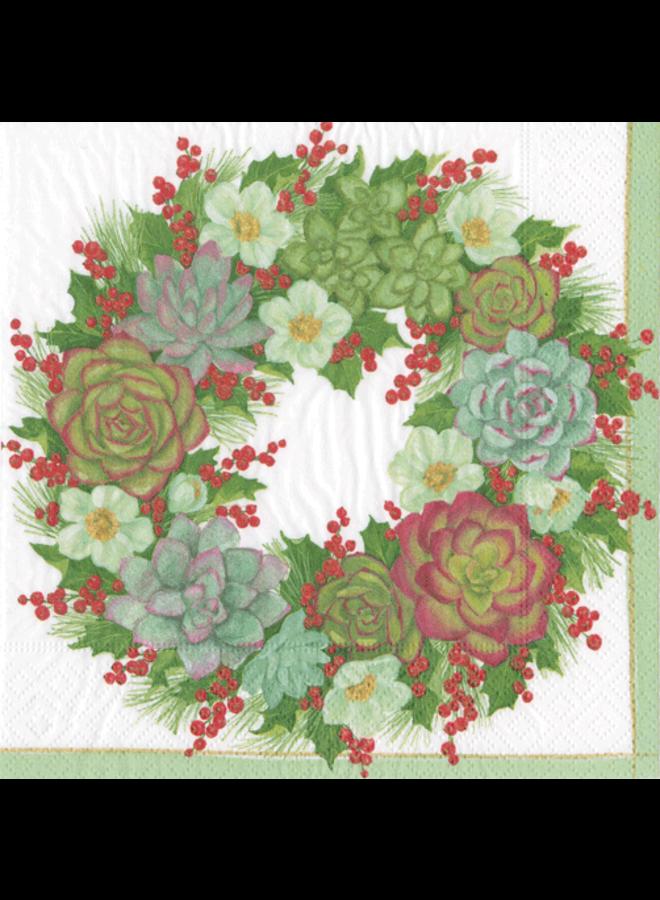 Succulent Wreath Paper Cocktail Napkins - 20 Per Package
