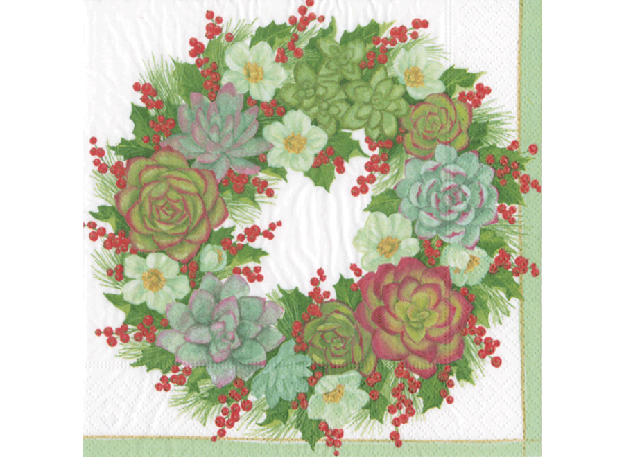 Succulent Wreath Paper Cocktail Napkins - 20 Per Package