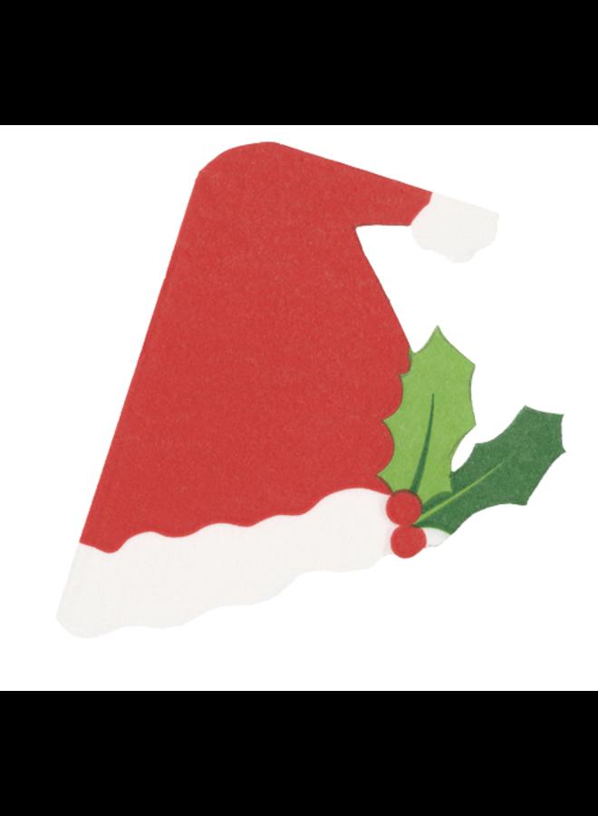 Santa Hat Die-Cut Paper Linen Party Napkins - 15 Per Package