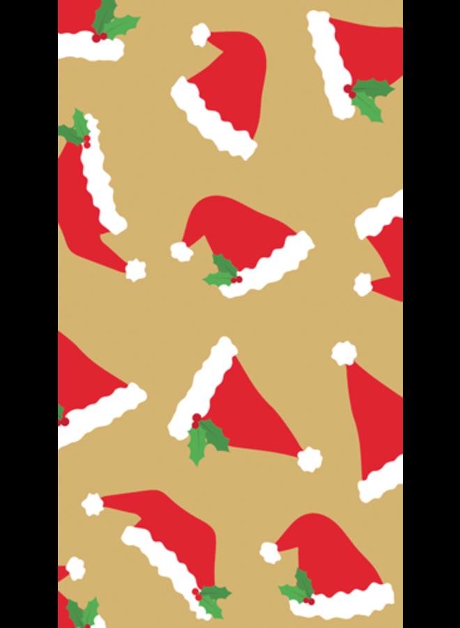 Santa Hat Toss Gold Paper Guest Towel Napkins - 15 Per Package