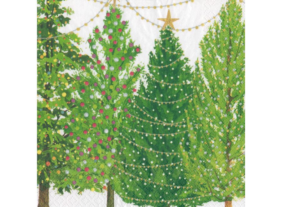 Christmas Trees With Lights Paper Cocktail Napkins - 20 Per Package