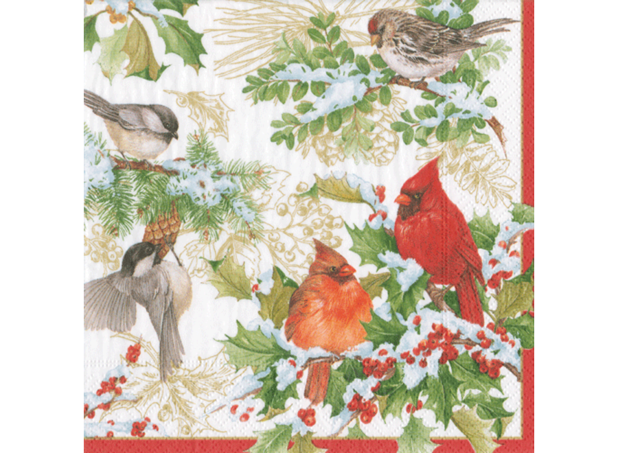 Christmas Birds and Greenery Paper Cocktail Napkins - 20 Per Package