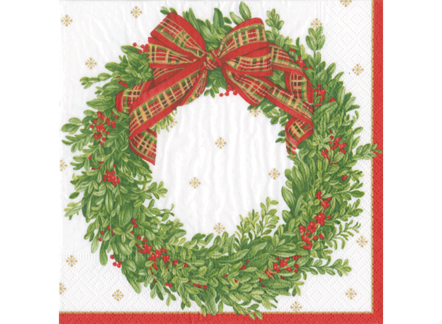 Boxwood and Berries Wreath Paper Cocktail Napkins - 20 Per Package
