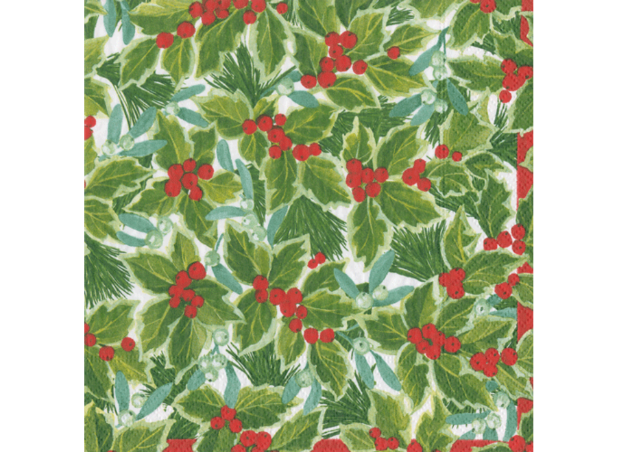Holly and Mistletoe Paper Cocktail Napkins - 20 Per Package