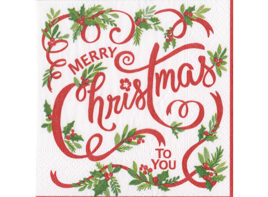 Merry Christmas to You Paper Cocktail Napkins - 20 Per Package