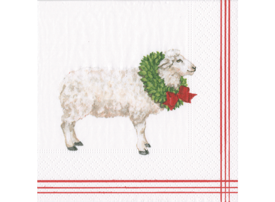 Sheep with Wreath White Paper Cocktail Napkins - 20 Per Package