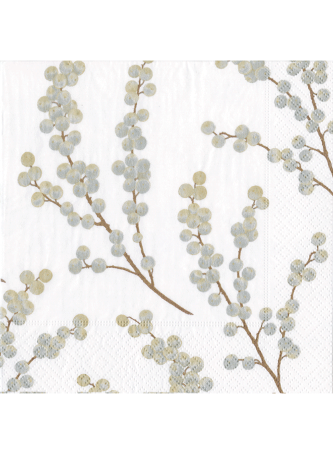 Berry Branches White/Silver Paper Cocktail Napkins - 20 Per Package