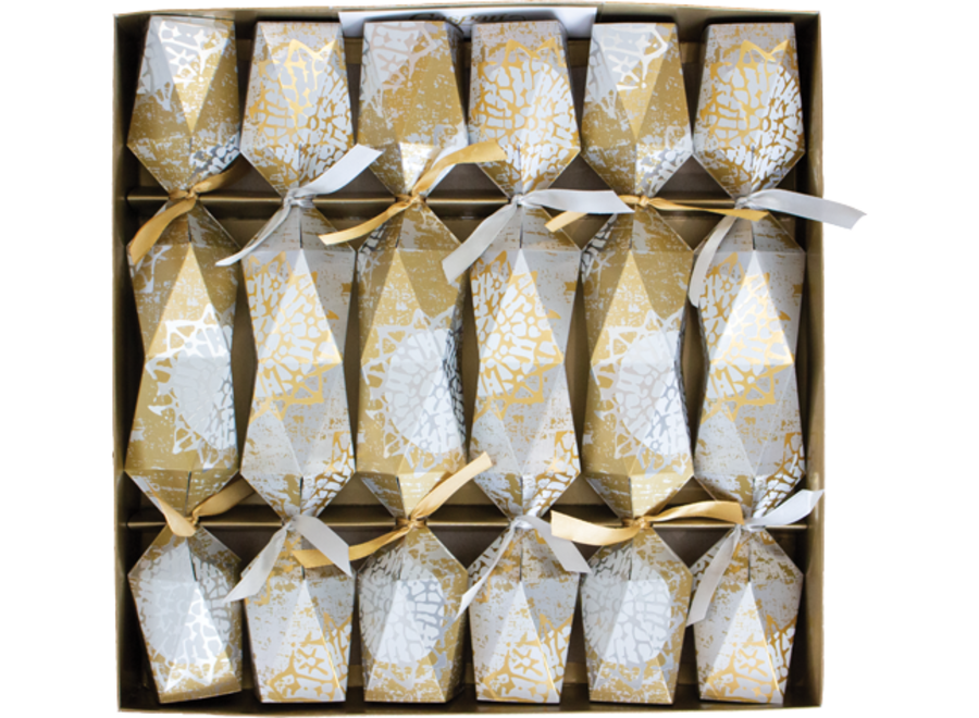 Block Print Stars Platinum/Gold Faceted Christmas Crackers 6 Count 12.5 Inch Long