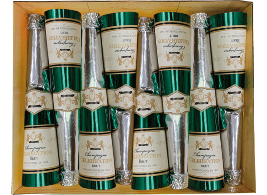Champagne Bottle Luxury Cone Crackers - 8 Per Box