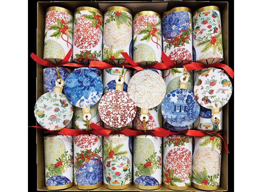 Porcelain Ornaments Christmas Crackers 6 Count 12.5 Inch Long