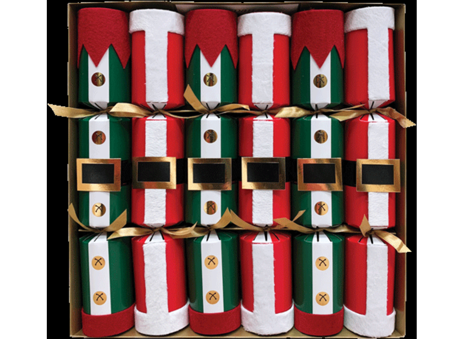 Santa and Elf Costumes Christmas Crackers 6 Count 12.5 Inch Long