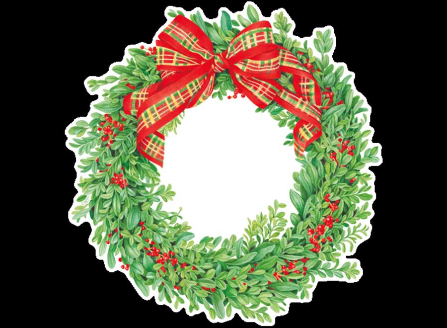 Boxwood and Berries Wreath Coaster - Die Cut