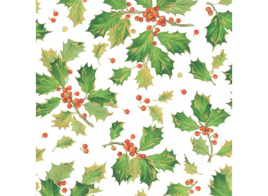 """Gilded Holly Gift Wrapping Paper in White - 30"""" x 8' Roll"""