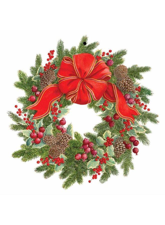 Evergreen Wreath Decorative Die-Cut Gift Tag - 4 Per Package