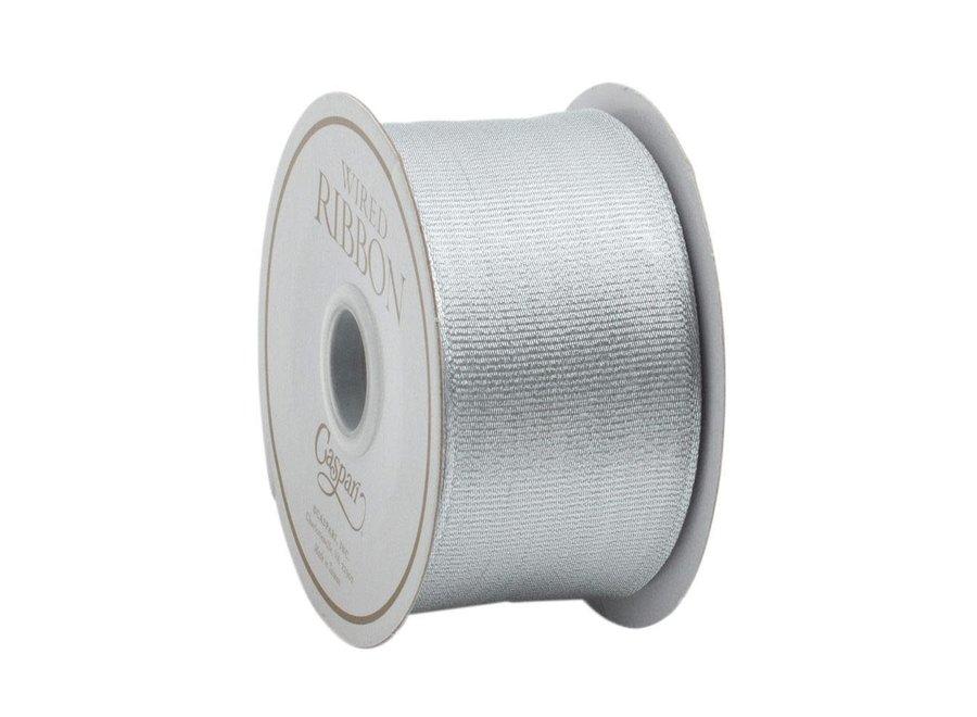 Metallic Silver Grosgrain Wired Ribbon - 6 Yard Spool