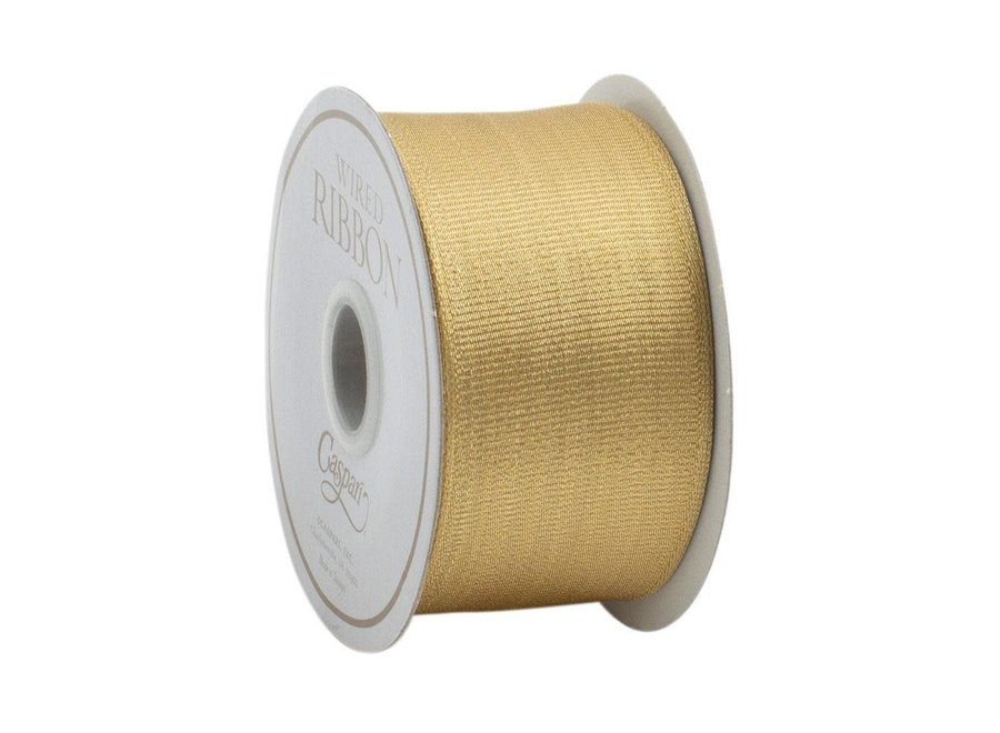 Metallic Gold Grosgrain Wired Ribbon - 6 Yard Spool