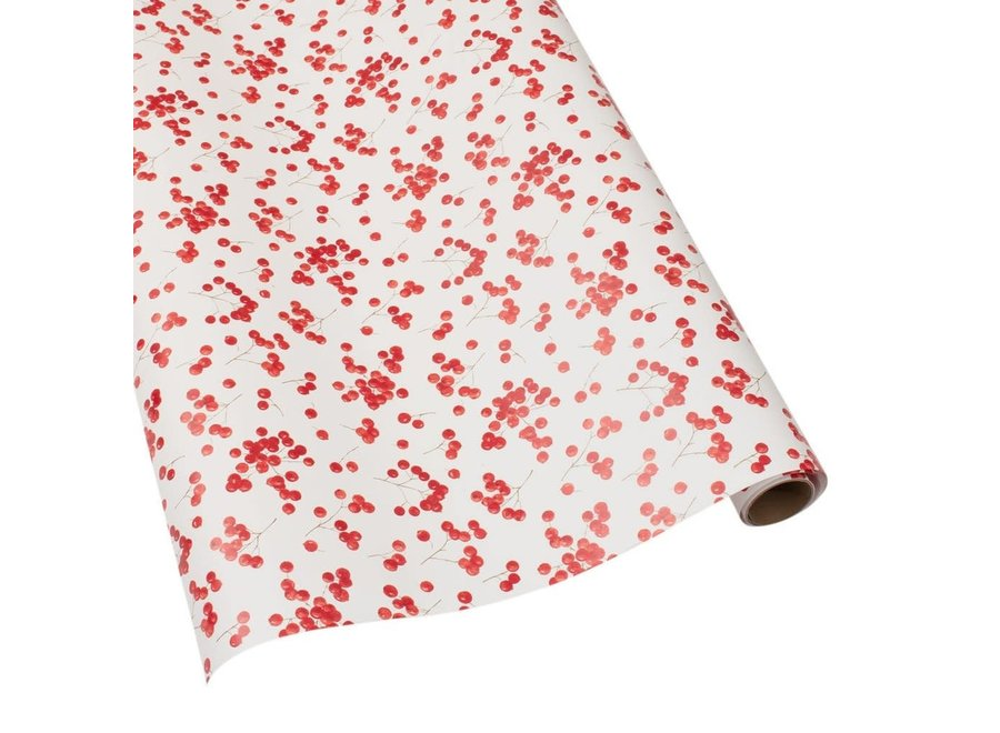 """Berry Gathering Gift Wrapping Paper in Ivory - 30"""" x 8' Roll"""