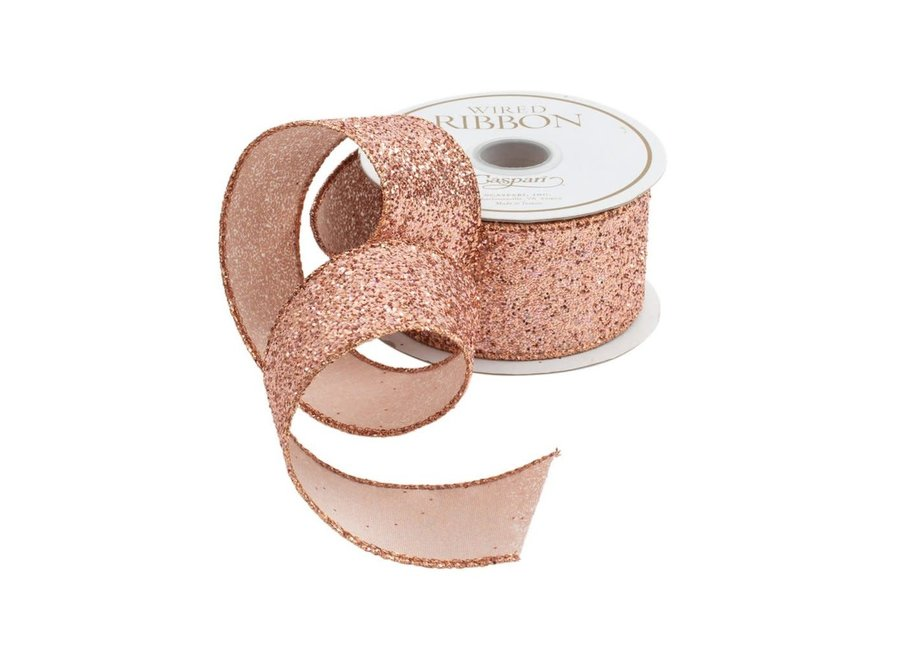 Wide Rose Gold Glitter Wired Ribbon - 5 Yard Spool