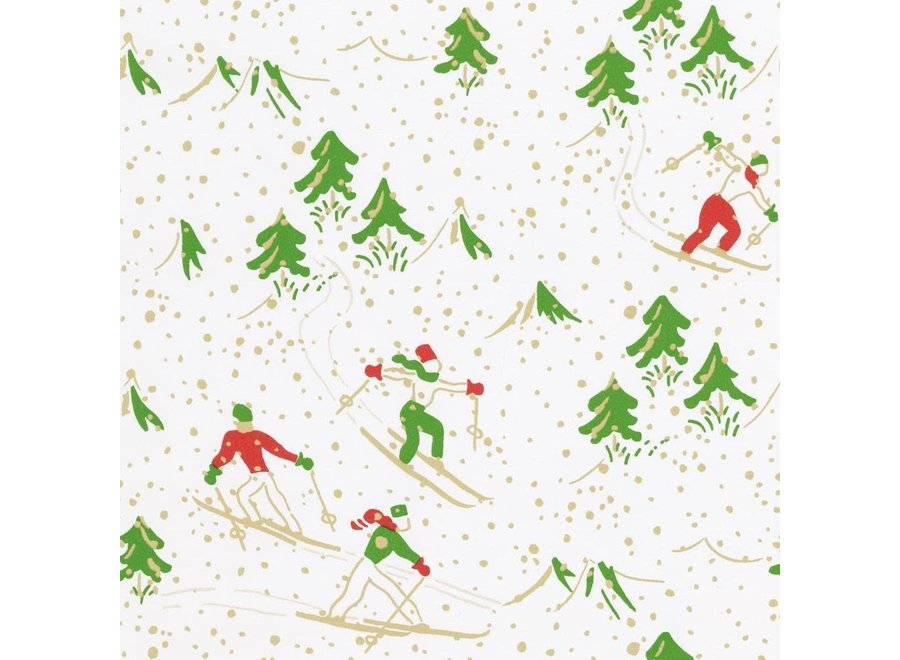"""Winter Sports Gift Wrapping Paper in White Soft Touch - 30"""" x 8' Roll"""