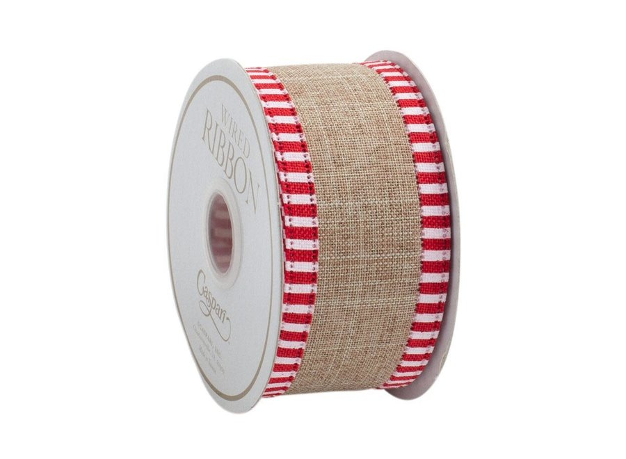 Beige Linen Striped Border Wired Ribbon - 6 Yard Spool