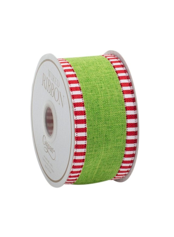 Green Linen Striped Border Wired Ribbon - 6 Yard Spool