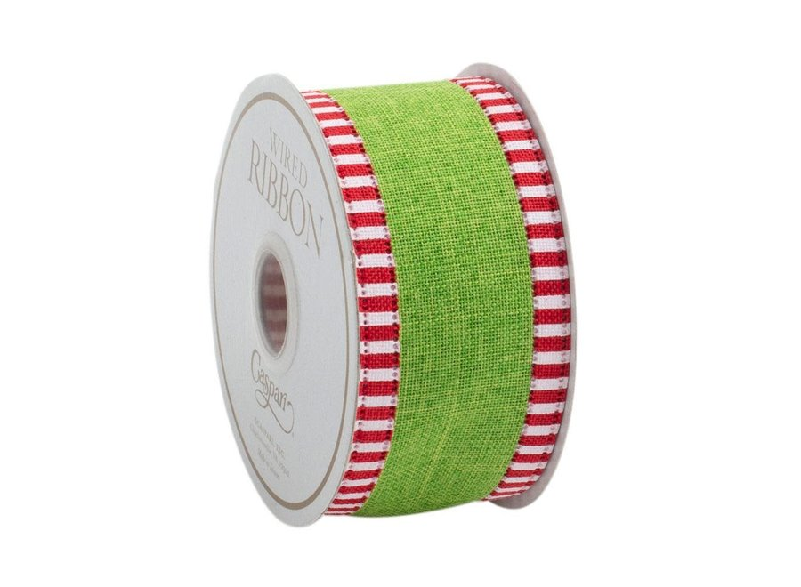 Green Linen Striped Border Wired Ribbon - 6 Yard Spool