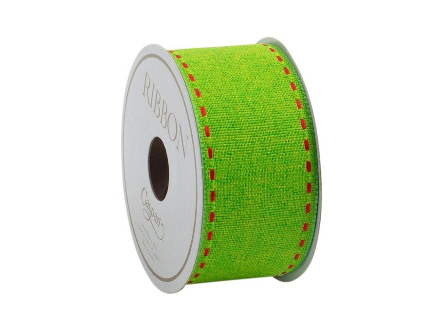 Green with Red Pickstitch Unwired Ribbon - 7 Yard Spool