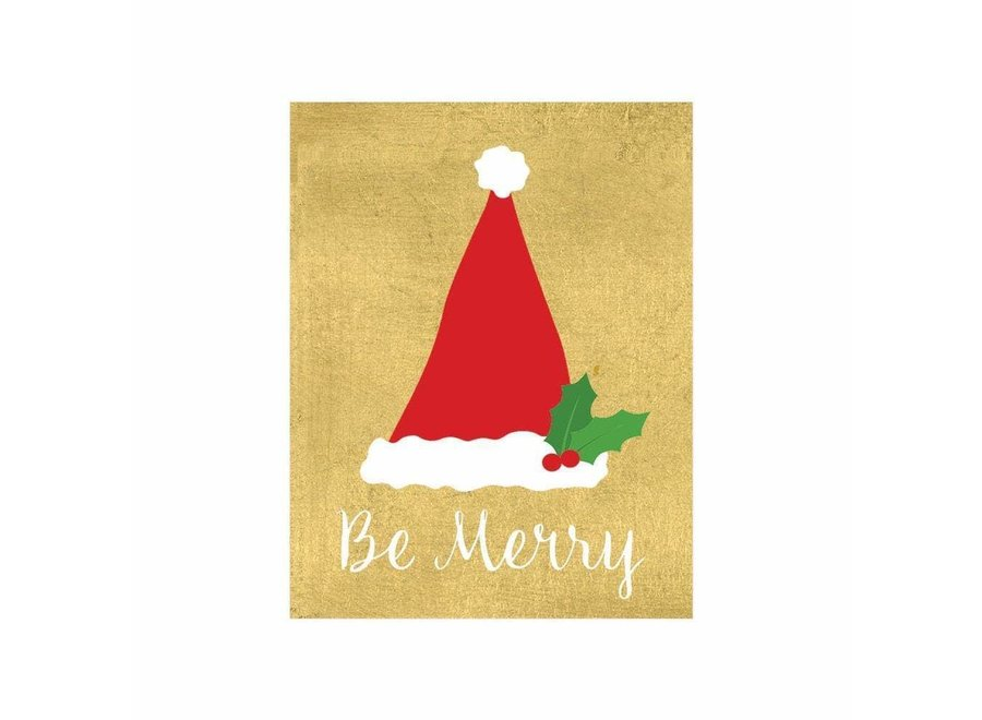 Be Merry Gift Enclosure Cards in Gold Foil - 4 Mini Cards & 4 Envelopes