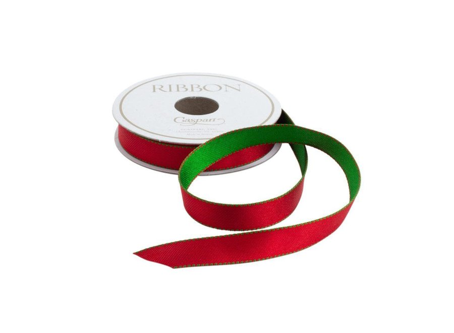 Green & Red Reversible Satin Unwired Ribbon - 9 Yard Spool