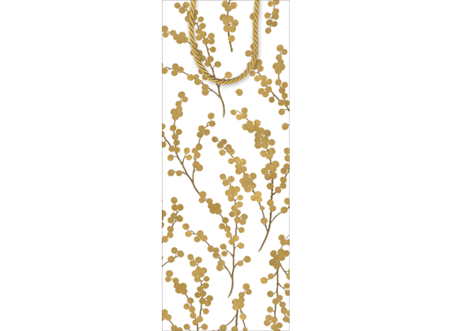 Berry Branches Ivory/Gold Wine & Bottle Gift Bag - 1 Each