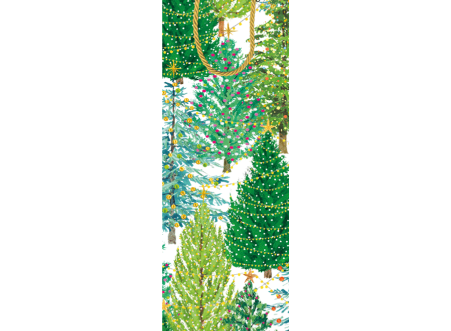 Christmas Trees With Lights Wine & Bottle Gift Bag - 1 Each