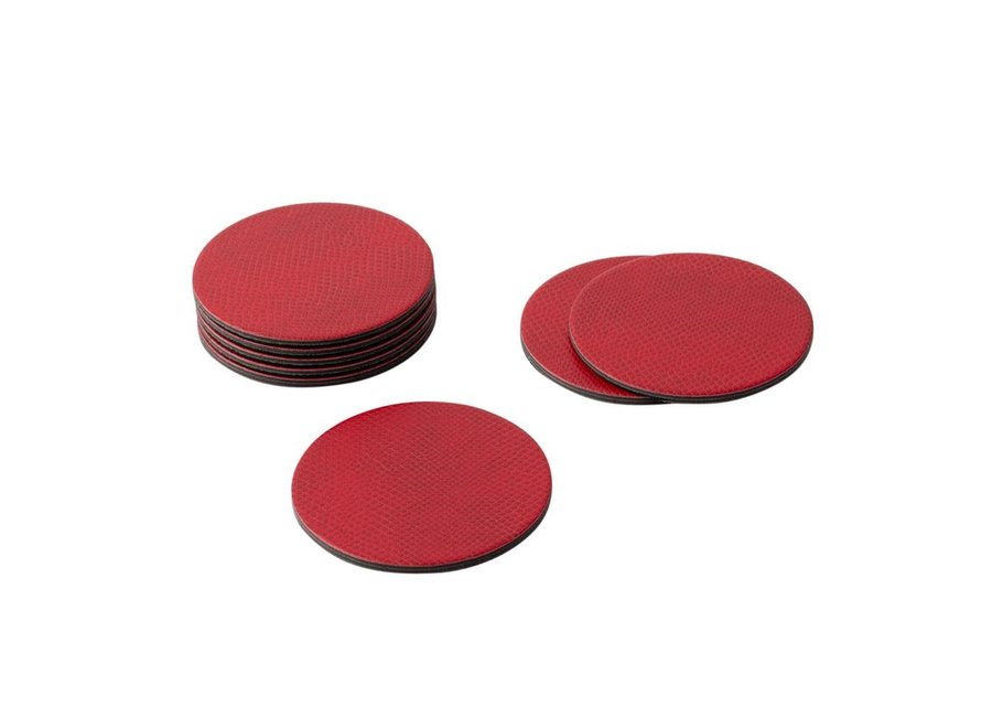 Coaster Crimson Snakeskin S/8Round Snakeskin Felt-Backed Coasters in Crimson - 8 Per Box
