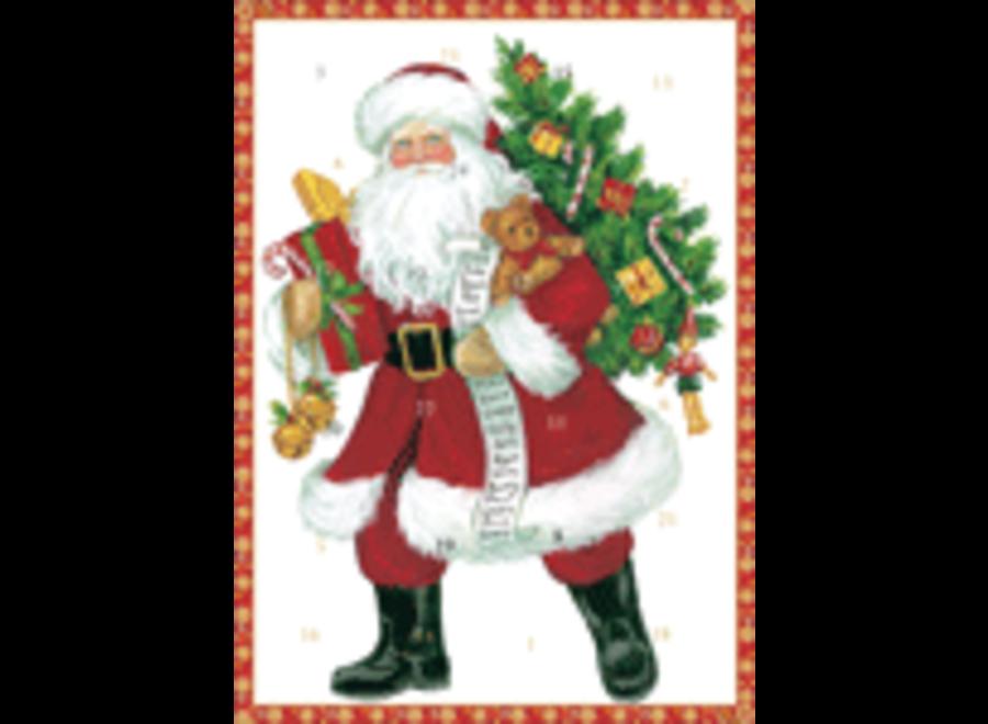 Lynn Haney Santa Advent Calendar Greeting Card - 1 Card & 1 Envelope