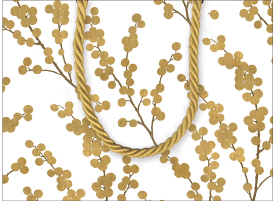 Berry Branches Ivory/Gold Small Gift Bag - 1 Each