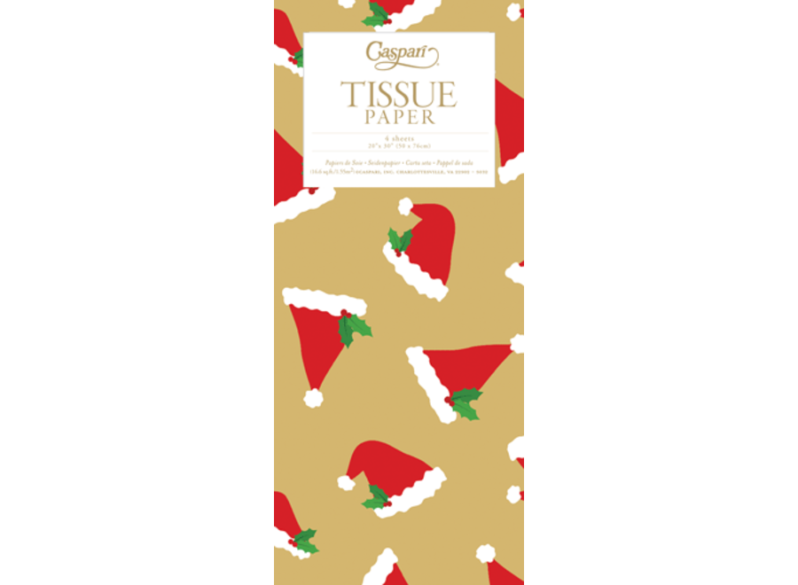 Santa Hat Toss Gold Tissue Pkg 4 Sheets