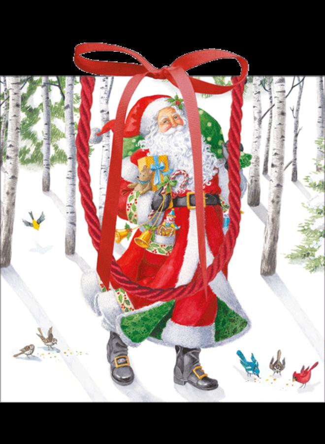 Woodland Santa Gift Bag Sm Sq. 5 3/4x2 1/2 X 5 3/4